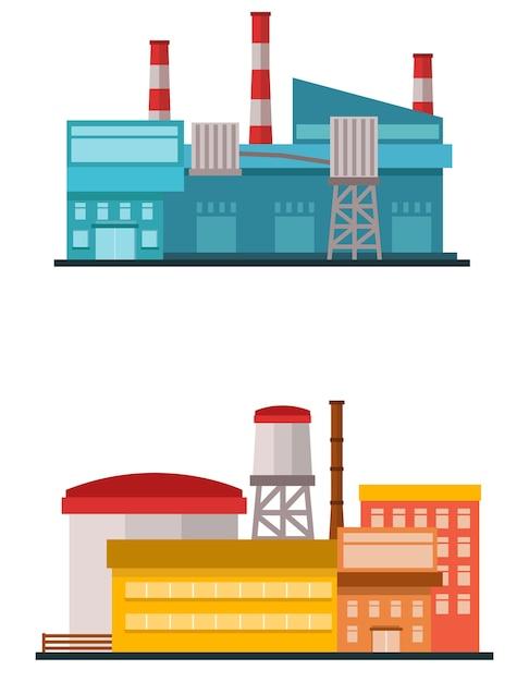 Stabilimento di fabbrica in stile piatto vettoriale Vettore Premium