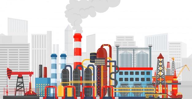 Stabilimento fabbrica sullo sfondo della città Vettore Premium