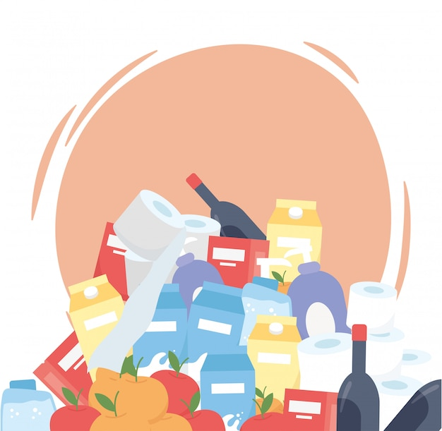 Stack di prodotti del supermercato, bottiglie di vino per la pulizia degli alimenti in eccesso di acquisto Vettore Premium