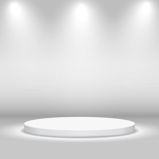 Stadio circolare vuoto con luci Vettore Premium