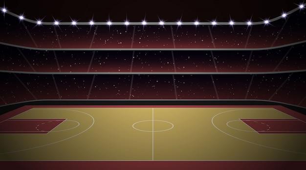 Stadio di pallacanestro con campo Vettore Premium