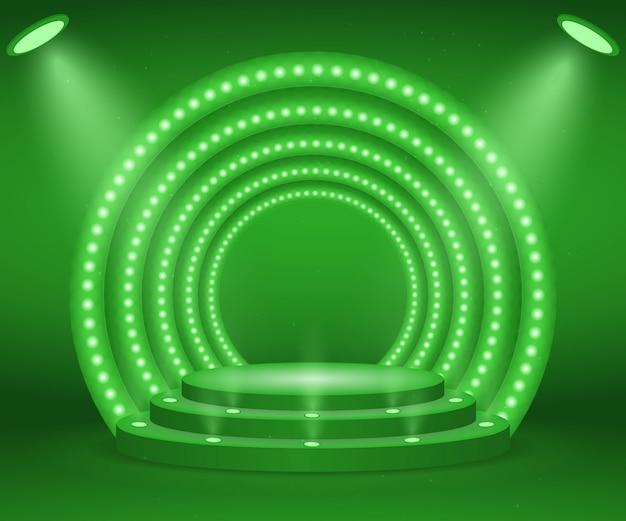 Stage con luci per la cerimonia di premiazione. podio rotondo illuminato. piedistallo. Vettore Premium