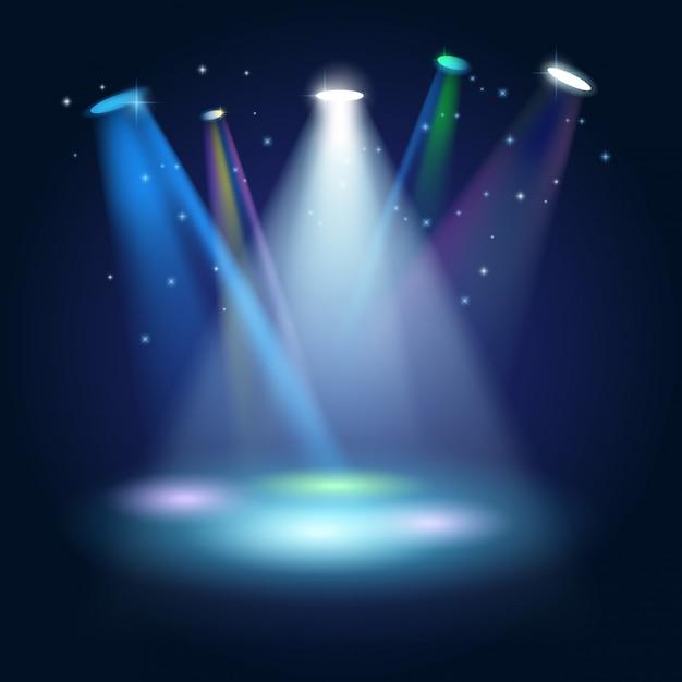 Stage podium scene with for award ceremony su sfondo blu Vettore Premium