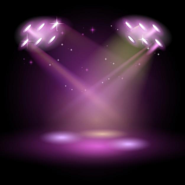 Stage podium scene with for award ceremony su sfondo viola Vettore Premium