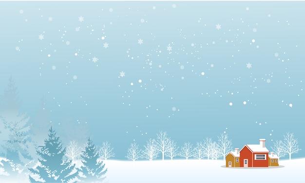 Stagione invernale quando la neve sta cadendo Vettore Premium