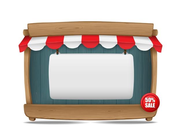 Stalla del mercato di legno con la tenda ed il bordo in bianco, illustrazione di vettore Vettore Premium