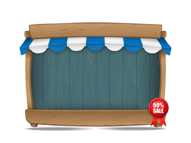 Stalla del mercato di legno con la tenda, illustrazione di vettore Vettore Premium