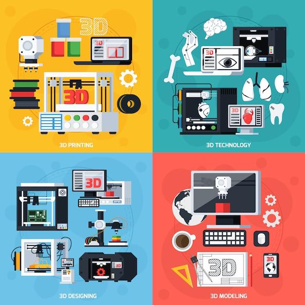 Stampa 3d 2x2 design concept Vettore gratuito