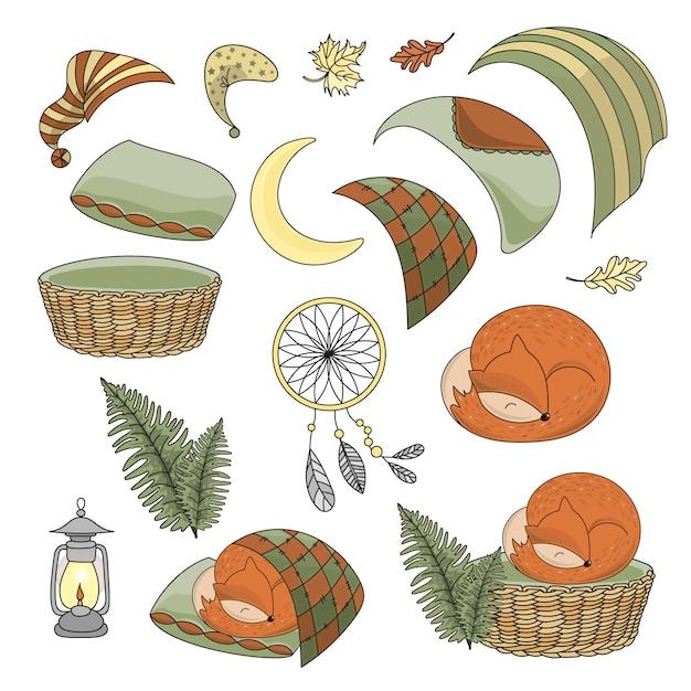 Stampa animale dell'illustrazione di vettore dell' volpe dormiale sveglia Vettore Premium