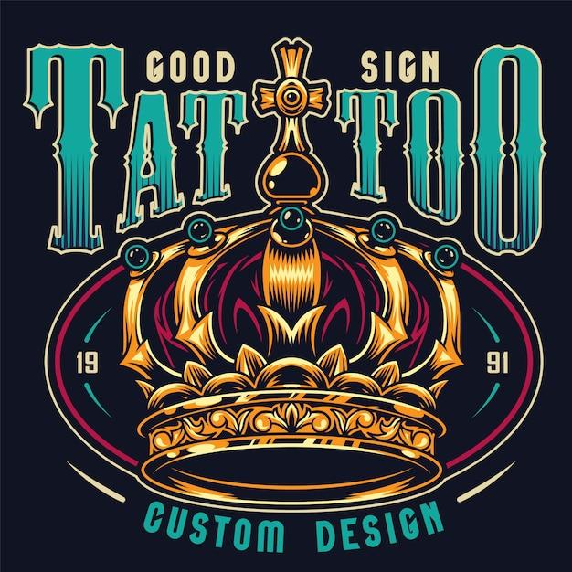 Stampa colorata studio tatuaggio vintage Vettore gratuito