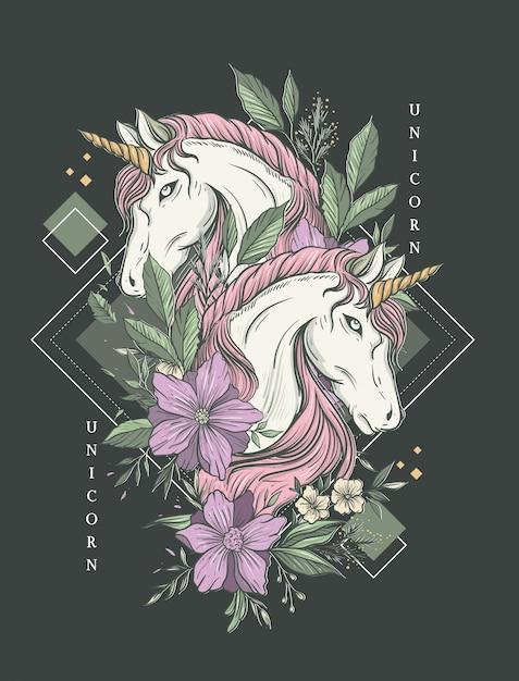 Stampa d'arte di lusso unicorno gemello Vettore Premium
