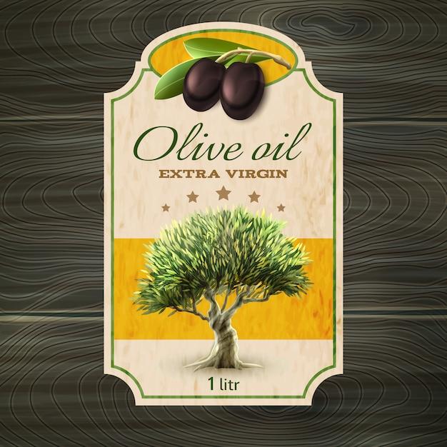 Stampa dell'etichetta dell'olio d'oliva Vettore gratuito