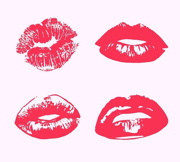 Stampa di bacio del rossetto isolata Vettore Premium