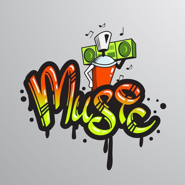 Stampa di caratteri parola graffiti Vettore gratuito
