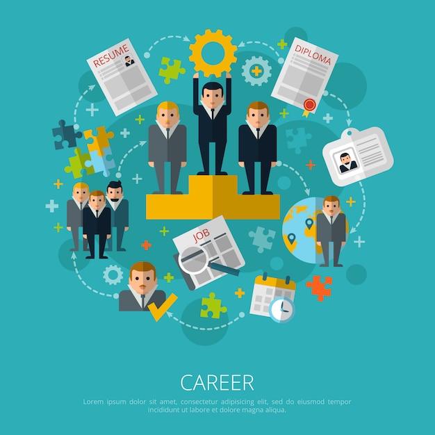 Stampa di concetto di carriera di risorse umane Vettore gratuito