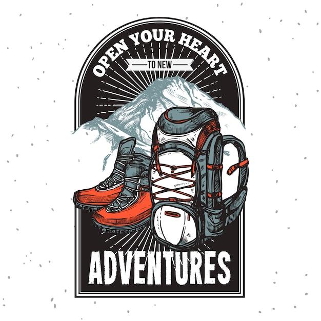 Stampa di emblema di lettering di avventura Vettore gratuito