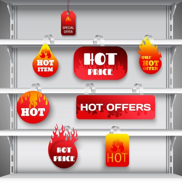 Stampa di wobblers a rack di vendita calda Vettore gratuito