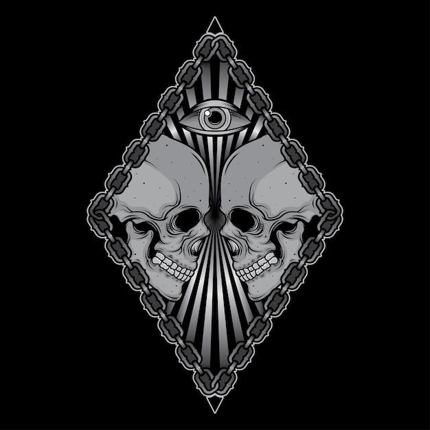 Stampa disegno della maglietta cranio testa Vettore Premium