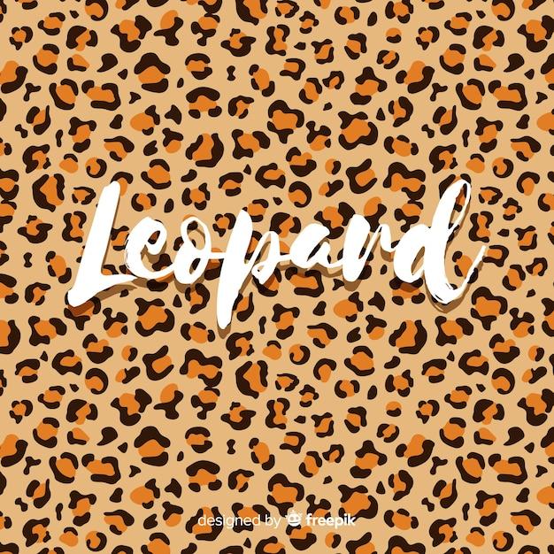Stampa leopardo con sfondo di parola Vettore gratuito