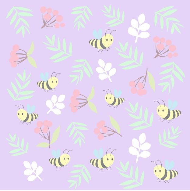 Stampa motivo ape floreale Vettore Premium