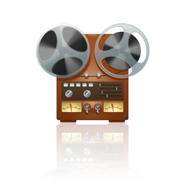 Stampa nostalgica dell'icona del dispositivo del registratore del registratore del nastro della bobina di nostalgia con la riflessione di specchio Vettore gratuito