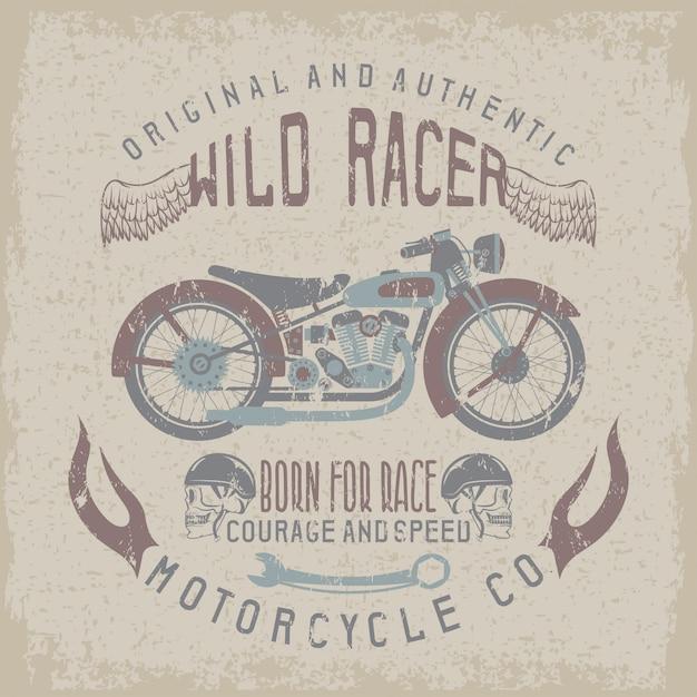 Stampa razziale vintage con moto, ali e teschi Vettore Premium