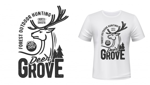 Stampa t-shirt cervo con corna. sport da caccia Vettore Premium