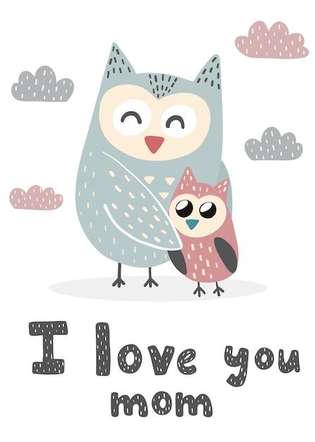Stampa ti amo mamma con simpatici gufi. carta dolce per la festa della mamma. illustrazione Vettore Premium