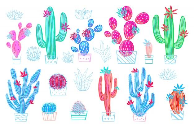 Stampa variopinta di stile di schizzo dell'acquerello dei fiori selvaggi succulenti del cactus. raccolta luminosa della pianta da appartamento botanica su fondo bianco. disegnato a mano. Vettore Premium