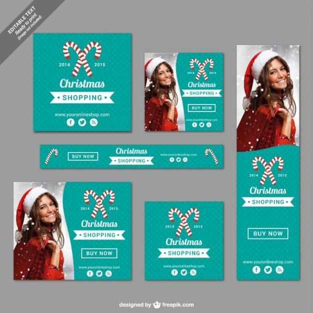 Stampabili banner shopping natalizio Vettore gratuito