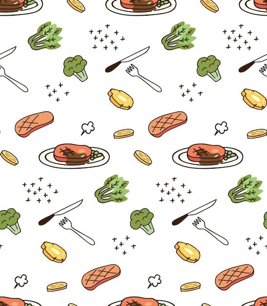 Stampare e decorare con cibo e verdure Vettore Premium
