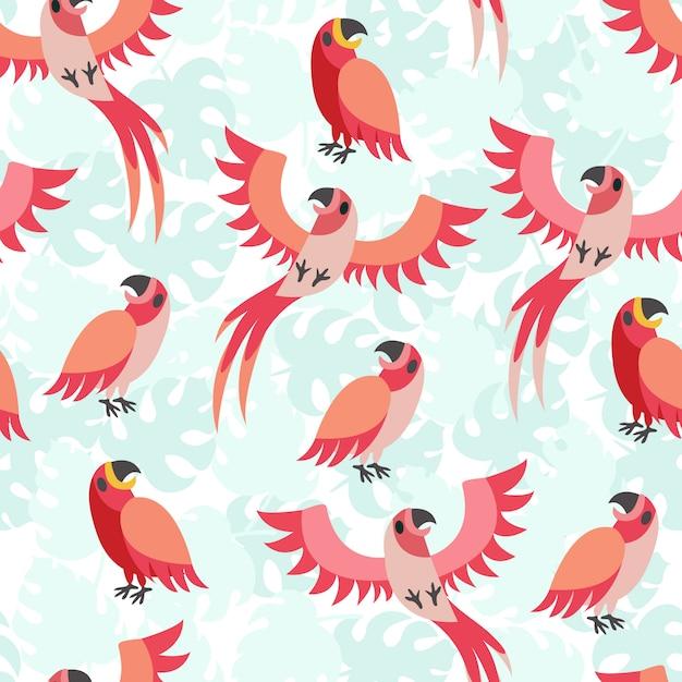 Stampare il pappagallo rosso Vettore Premium