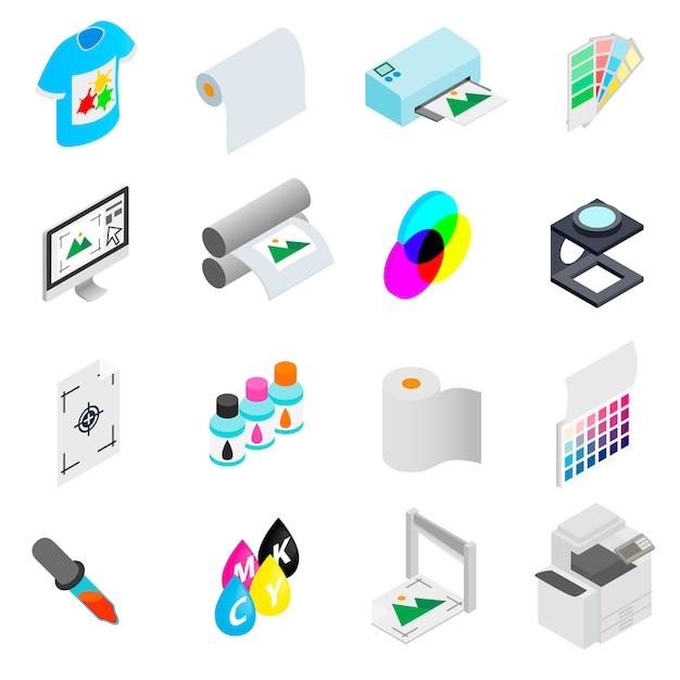 Stampare le icone impostate Vettore Premium