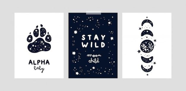 Stampe della scuola materna con lune magiche e stelle per bambina o ragazzo. carte o poster infantili Vettore Premium