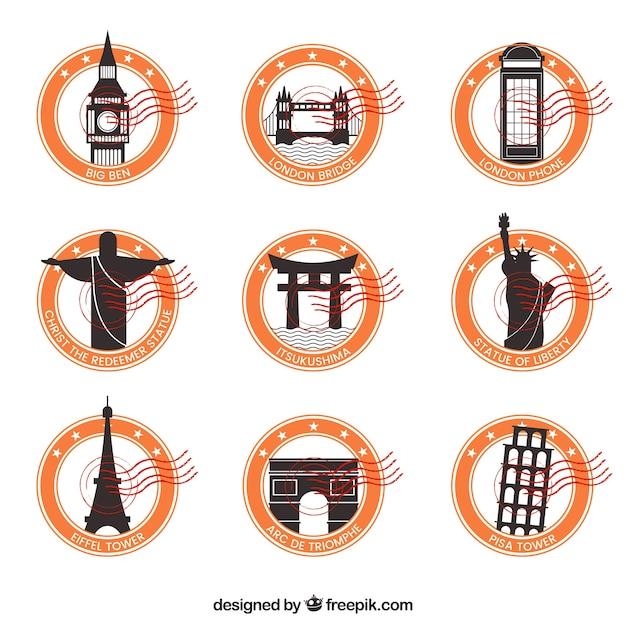 Stampi decorativi della città con cerchi arancioni Vettore gratuito
