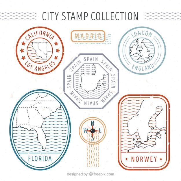 Stampi decorativi della città in stile retrò Vettore gratuito