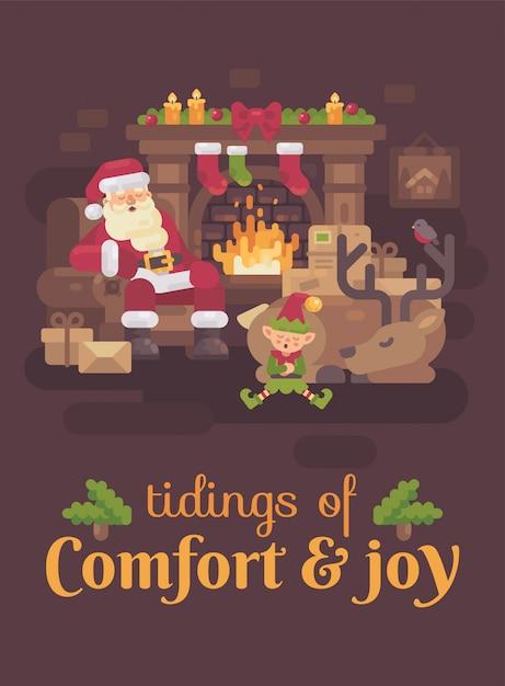 Camino Di Babbo Natale.Stanco Babbo Natale Con La Sua Renna E L Elfo Che Dorme
