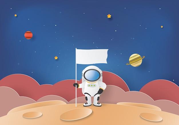 Stand astronauta sulla luna con una bandiera Vettore Premium
