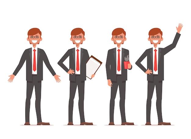 Stand di uomo d'affari in diverse posizioni Vettore Premium