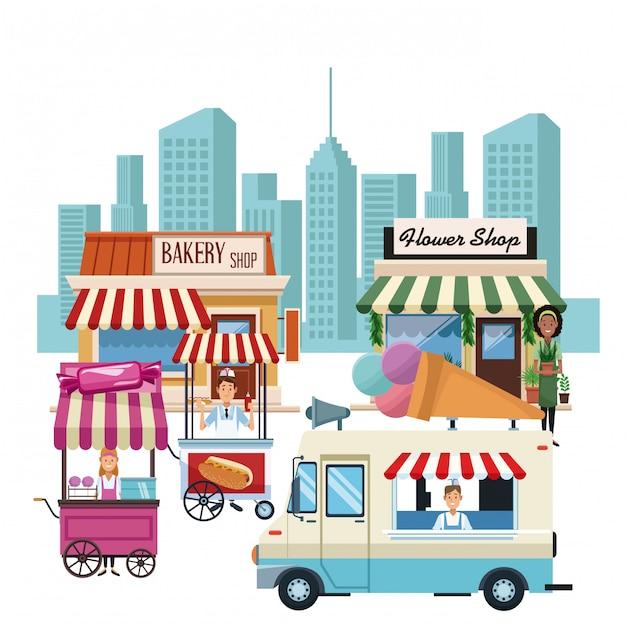 Stand gastronomico e negozi Vettore Premium
