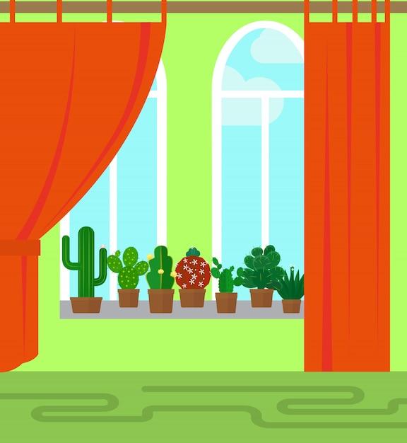 Stanza con finestra e cactus Vettore Premium
