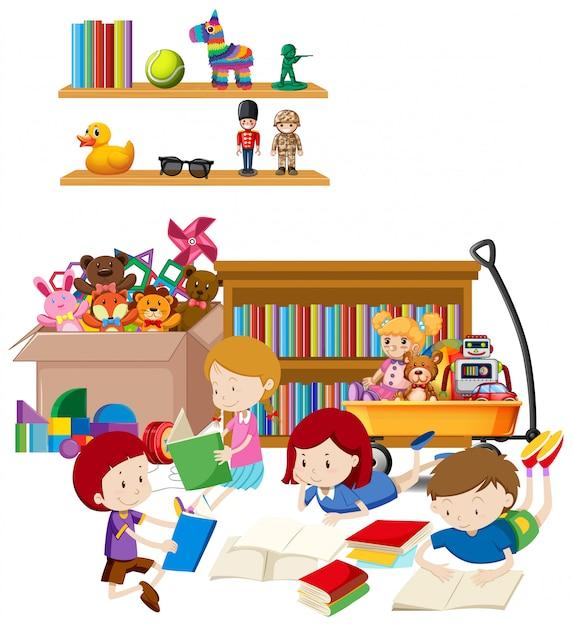 Stanza con molti libri di lettura dei bambini sull'illustrazione del pavimento Vettore gratuito