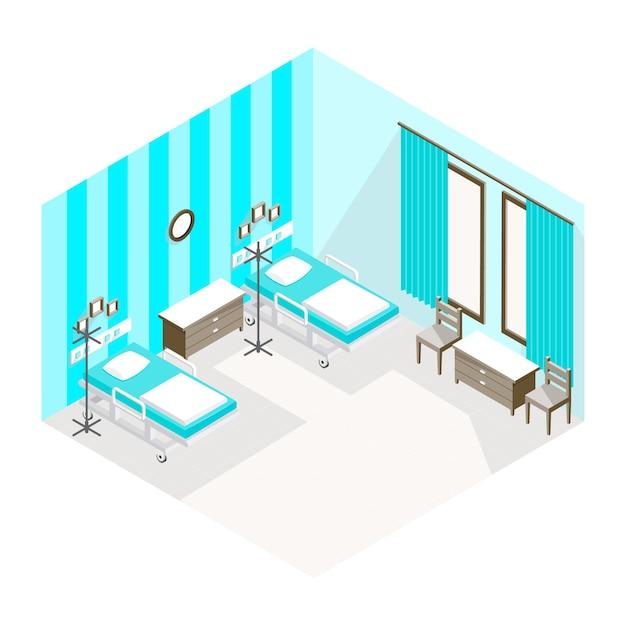 Stanza d'ospedale isometrica Vettore gratuito