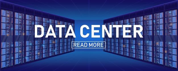 Stanza del cremagliera del server, priorità bassa del centro di grande banca di dati. Vettore Premium