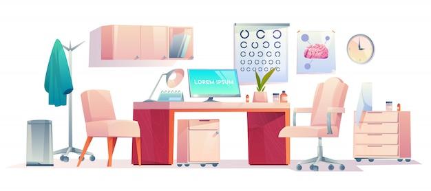 Stanza dell'equipaggiamento della roba dell'ufficio del dottore terapista Vettore gratuito