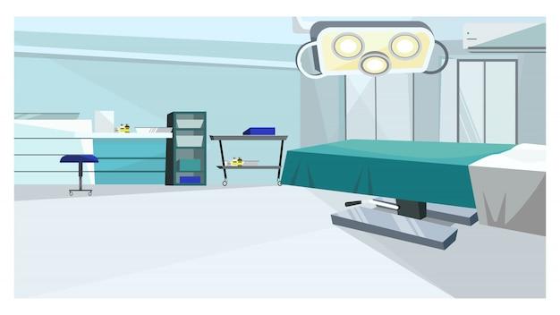Stanza di chirurgia con tavolo operatorio con illustrazione Vettore gratuito