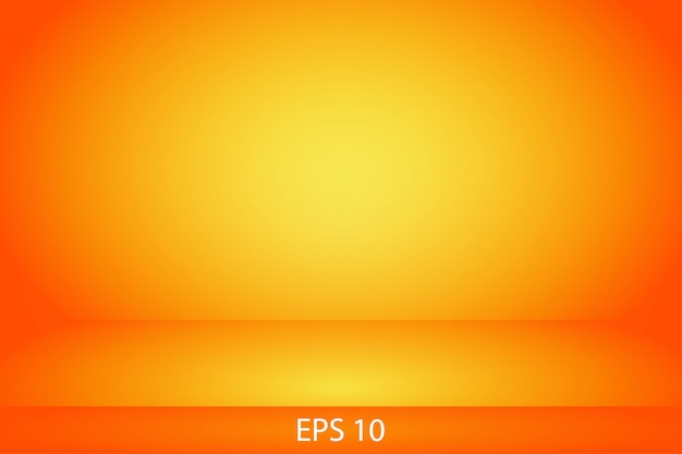 Stanza gialla e arancio della parete di pendenza dello studio orizzontale Vettore Premium