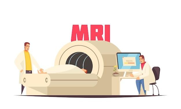 Stanza medica piana colorata di risonanza magnetica della composizione in mri nell'ospedale per l'illustrazione di vettore di trattamento Vettore gratuito
