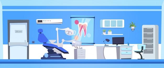 Stanza vuota dell'ospedale o della clinica del dentista vuoto interno dell'ufficio dentario Vettore Premium