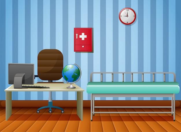 Stanza vuota dell'ufficio dei medici con mobilia Vettore Premium